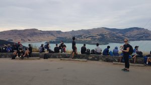 St Thomas of Canterbury College students overlooking the Lyttleton harbour