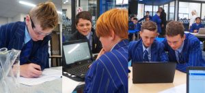 St Thomas of Canterbury College Boys learning with laptops