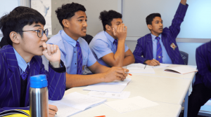 St Thomas of Canterbury College boys asking questions