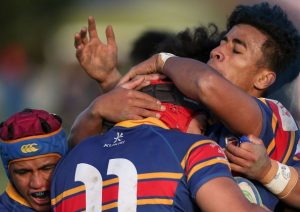 St Thomas of Canterbury College rugby boys embracing