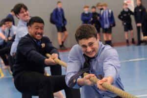 St Thomas of Canterbury College boys playing tug of war